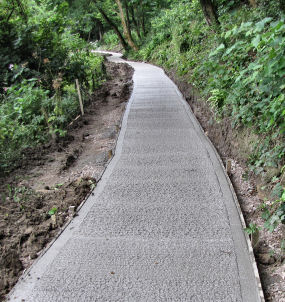 new concrete surface to footpath